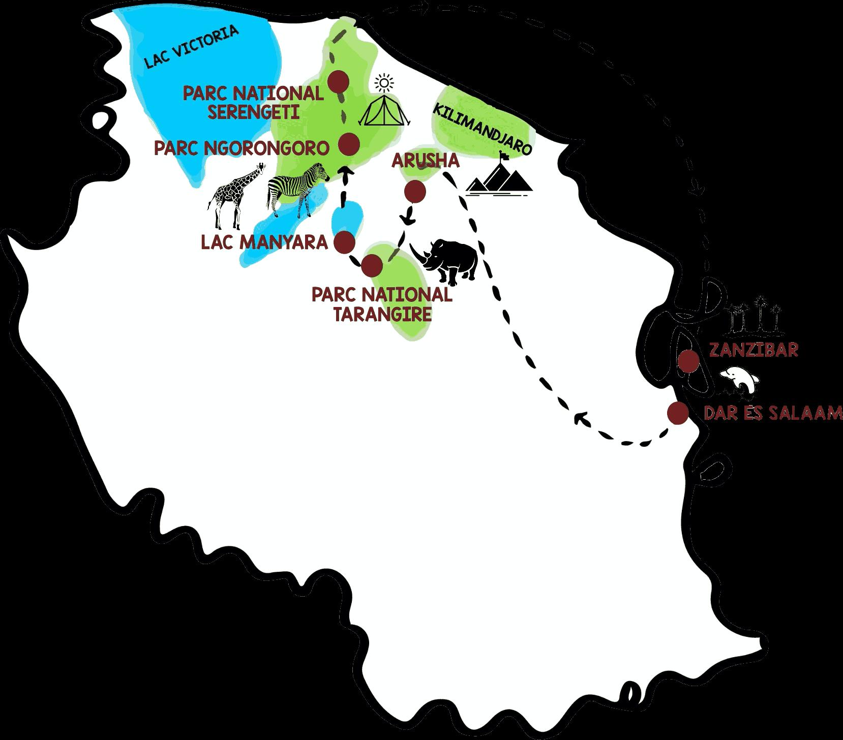 voyage Tanzanie et zanzibar itinéraires