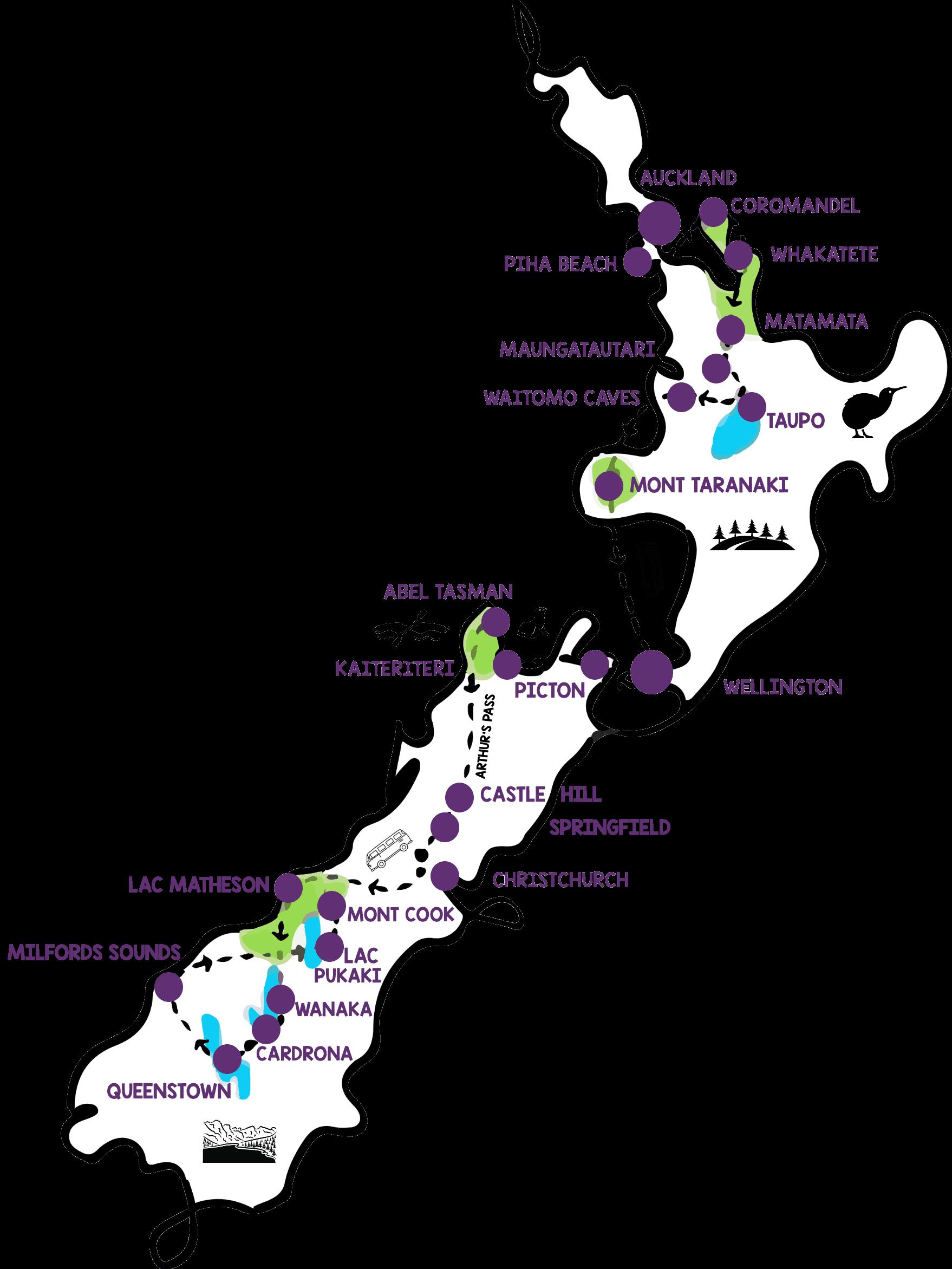 itinéraire de voyage Nouvelle-Zélande