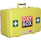 OXY BOX Type A1 komplett m/flaske. Gul kasse ( Levers tom for O2 ) Oksygen koffert