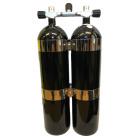 2x12L 232 Bar stålflasker (sorte) Concave, komplett m/kran & iso