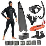 Fridykkerpakke SEAC - Maske, Snorkel, Føtter, Drakt, Bly, Bøye, Hansker og Sokker