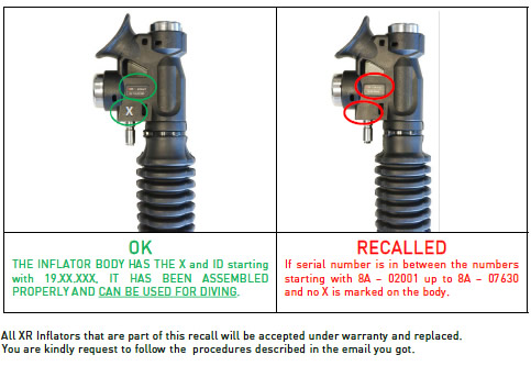 Recall Mares XR Inflator