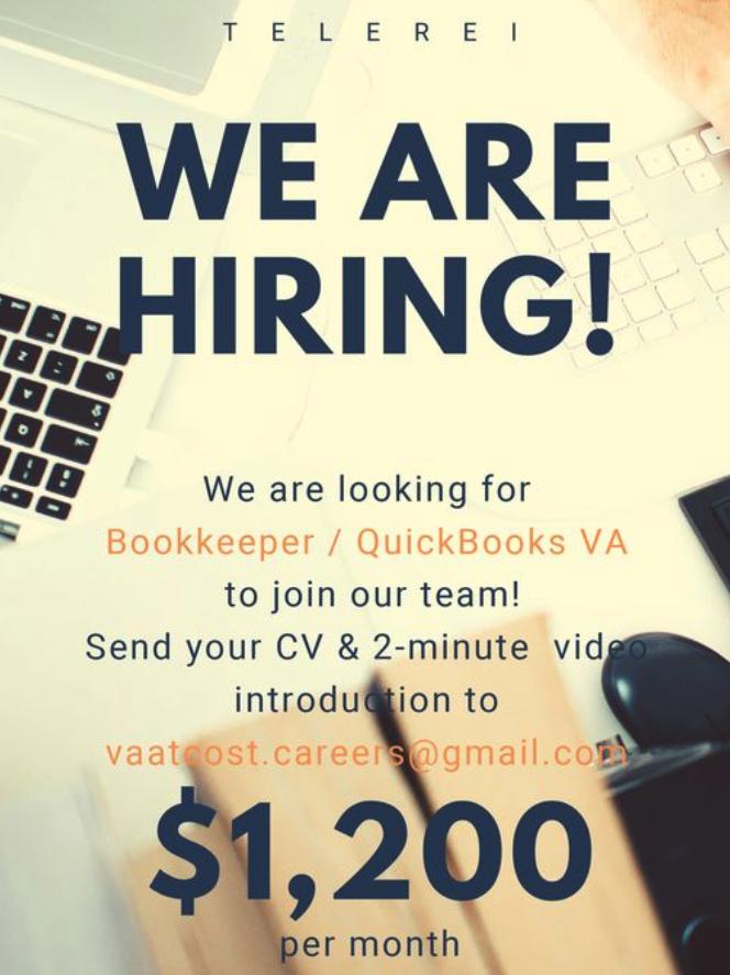 WE ARE HIRING Bookkeeping / QuickBooks VA!