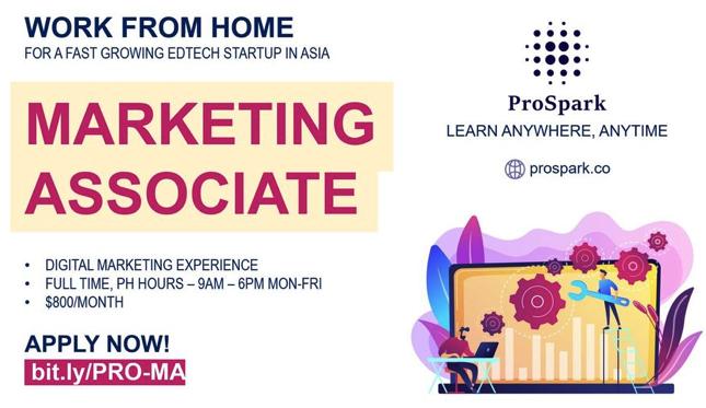 Work From Home! ProSpark Now Hiring Marketing Associate
