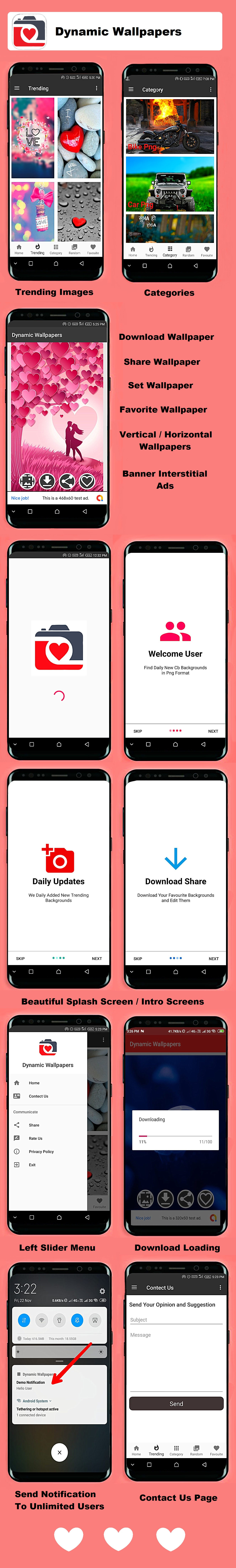 Dynamic Wallpapers Android App With Firebase Back-end - 2