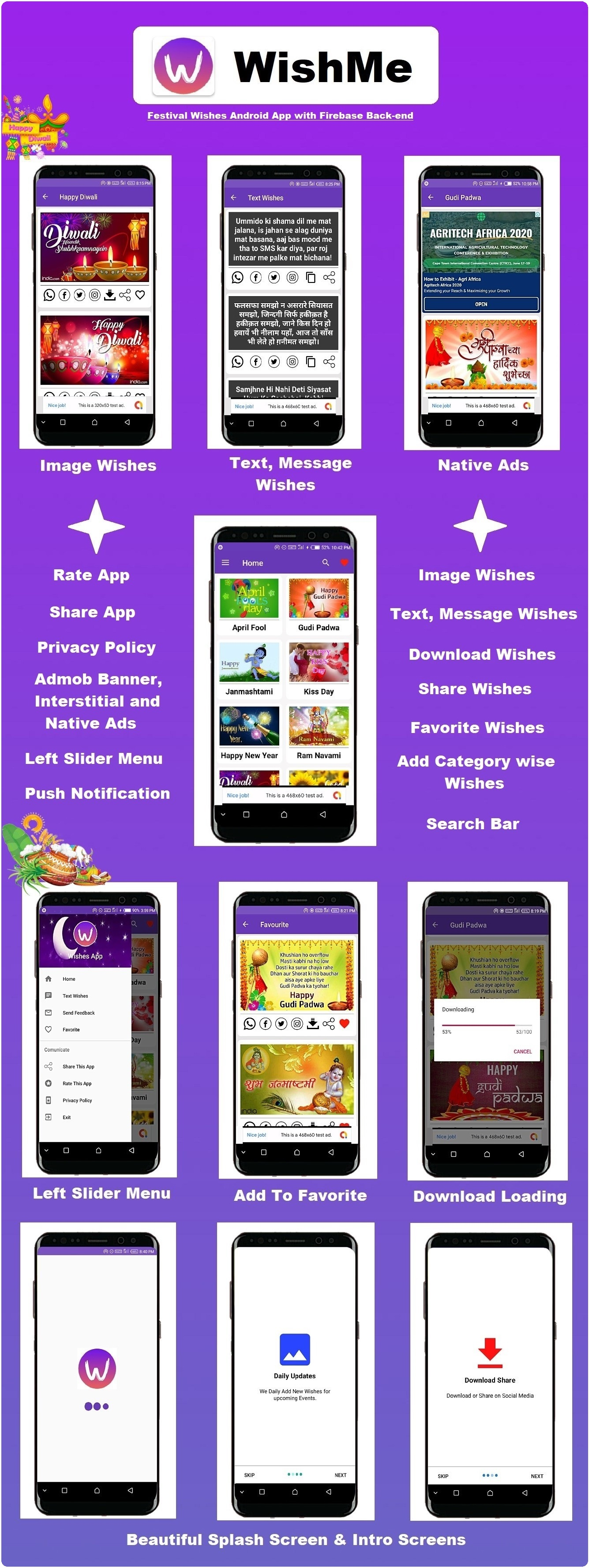 WishMe - Festival Wishes Android App With Firebase Back-end - 3