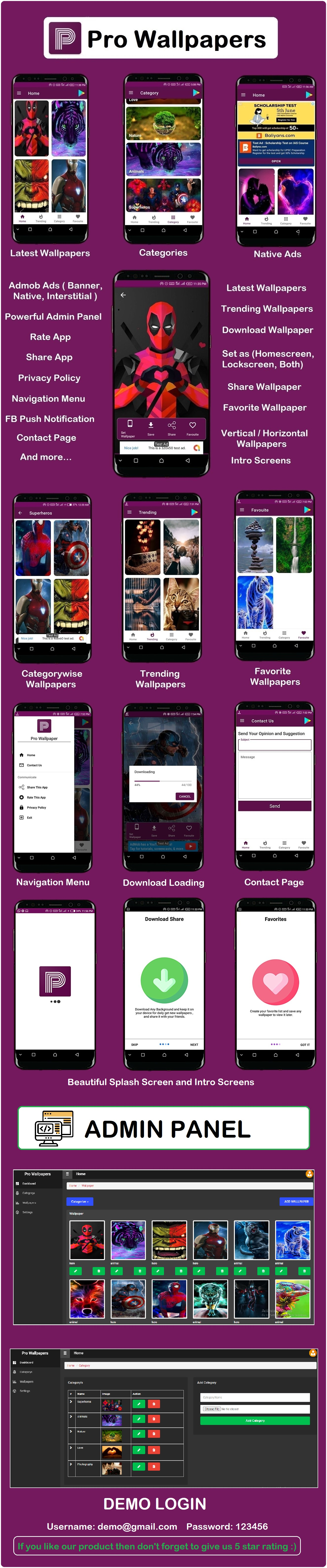Pro Wallpapers Android App with Admin Panel - 5