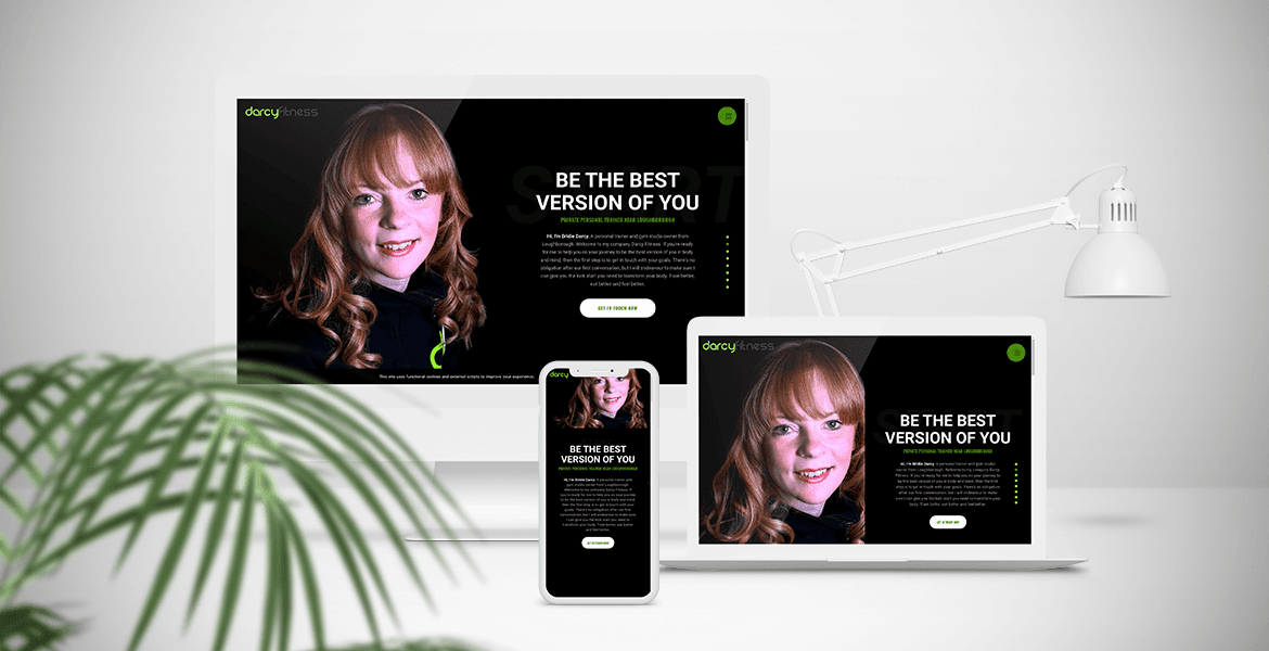 Darcy Fitness website mock-up - Personal Trainer website Loughborough