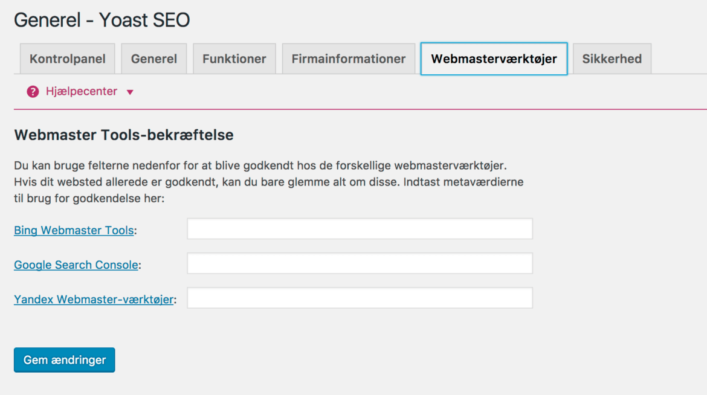 Yoast wordpress plugin SEO - Søgekonsol