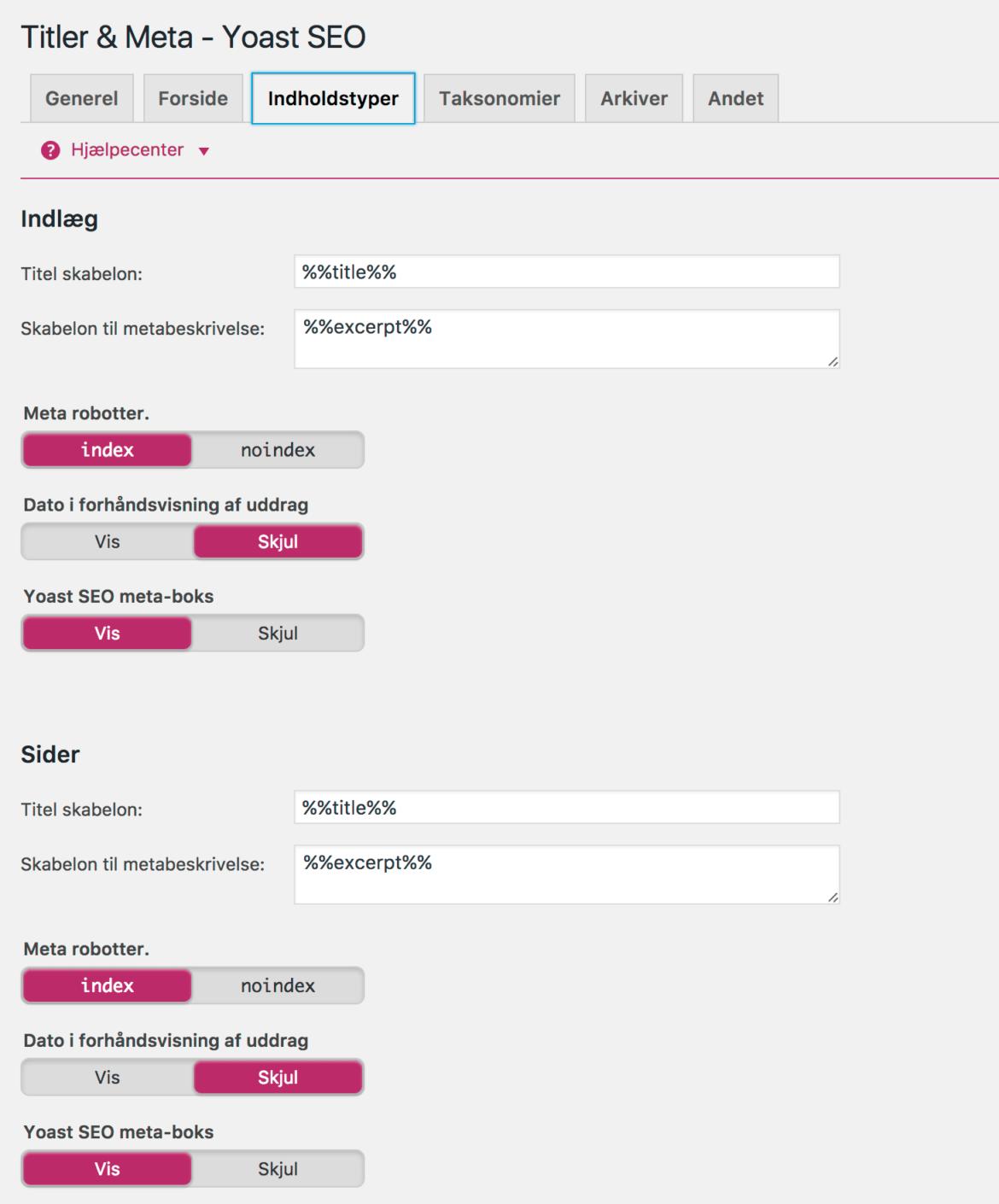 Yoast wordpress plugin SEO - Titler og meta