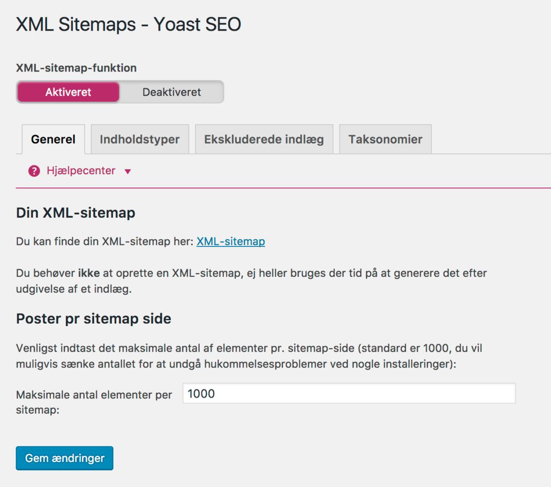 Yoast wordpress plugin SEO - XML Sitemaps