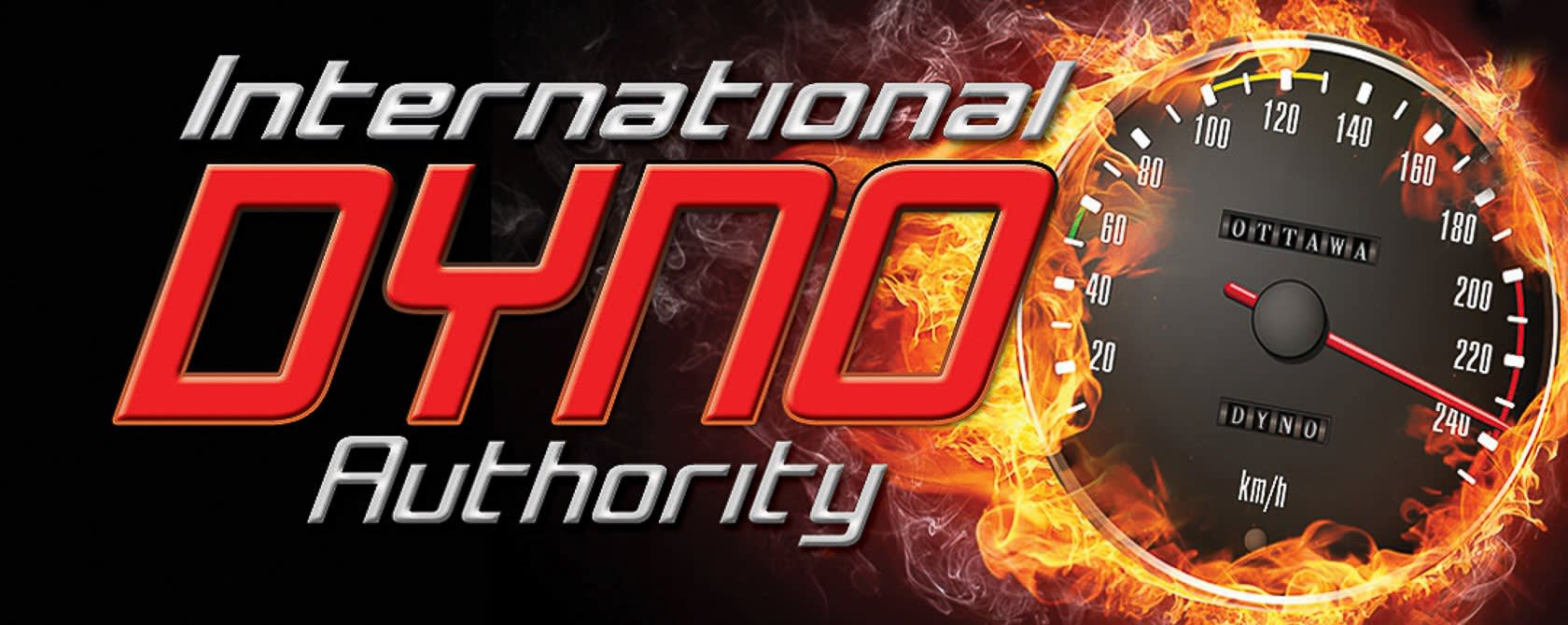 International dyno authority logo. speedometer surrounded by flames.
