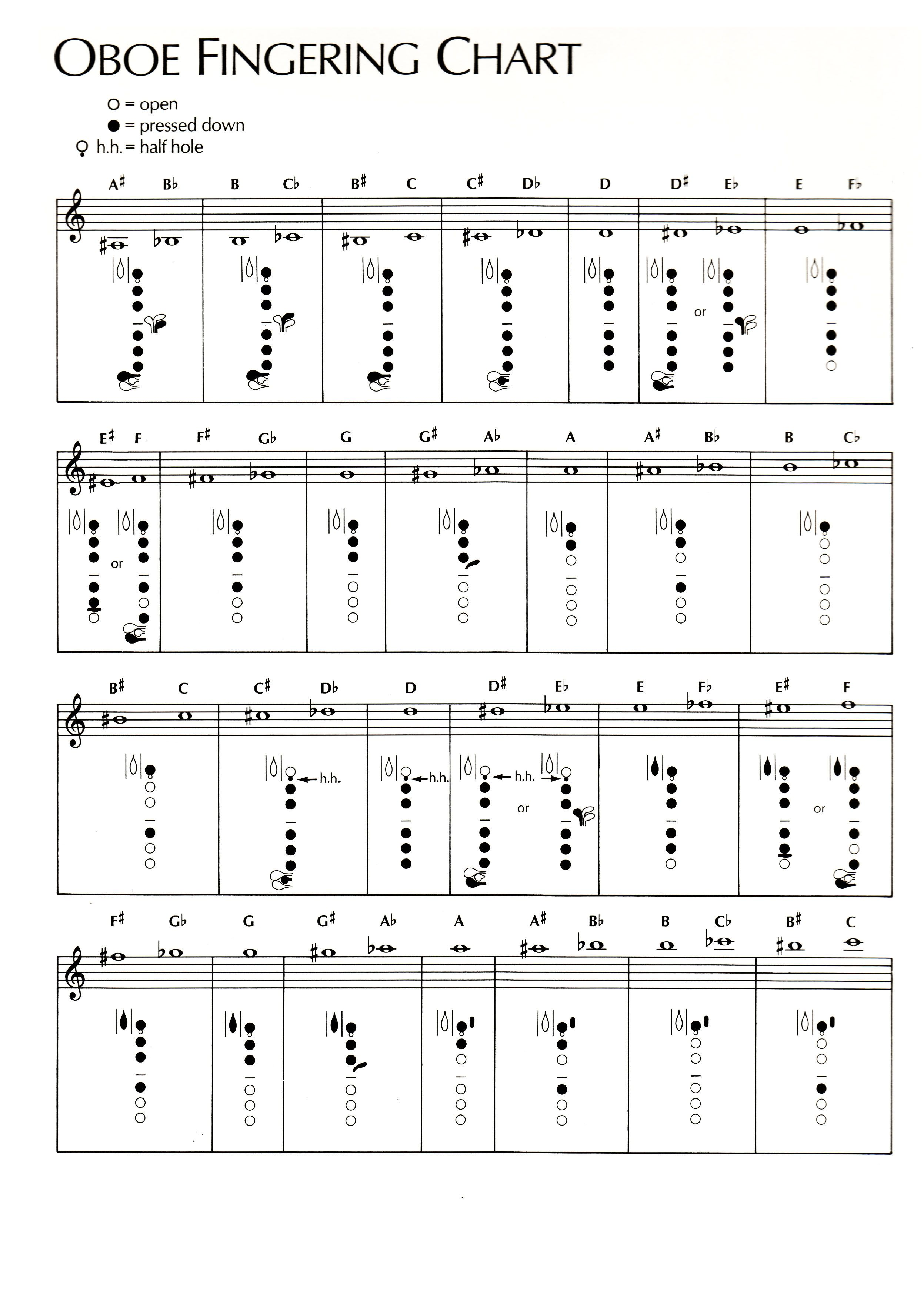 A fingering chart for an oboe.
