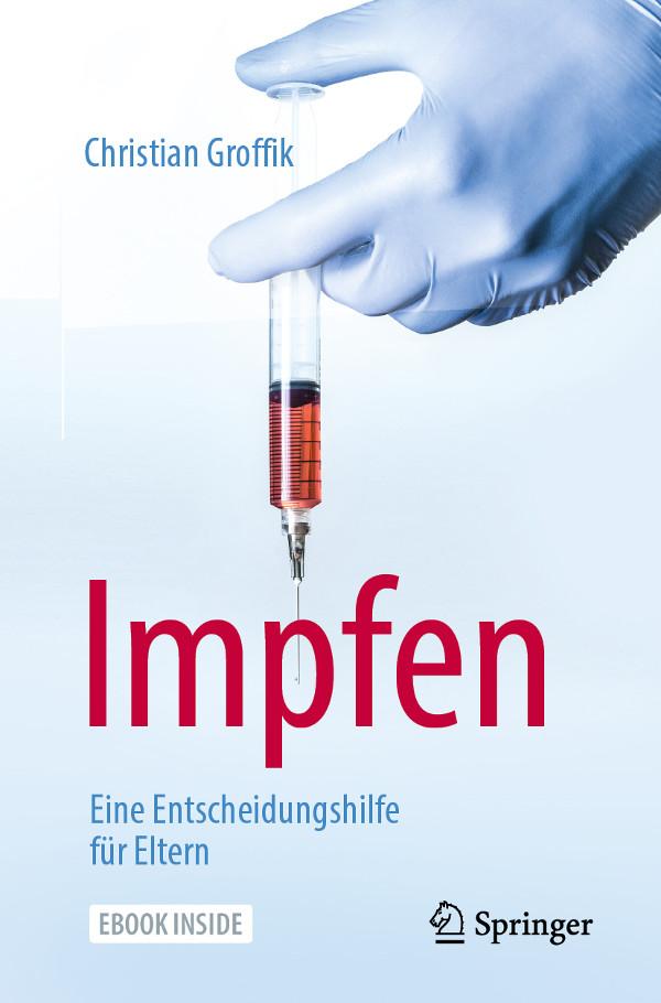 Buchcover Impfen eine Entscheidungshilfe für Eltern, Hand mit blauem Handschuh hält Spritze gerade nach unten