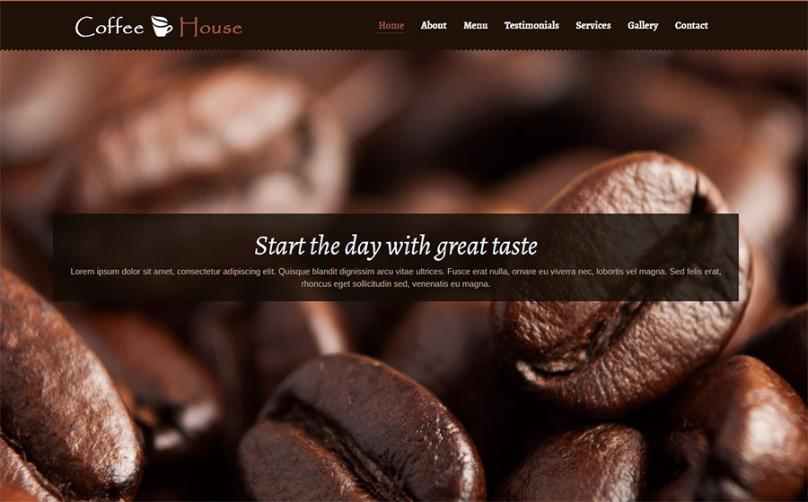 Coffee House - One Page Bootstrap Template