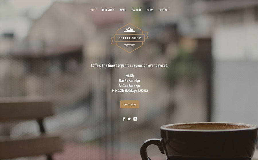 Coffee Shop - Bootstrap Template
