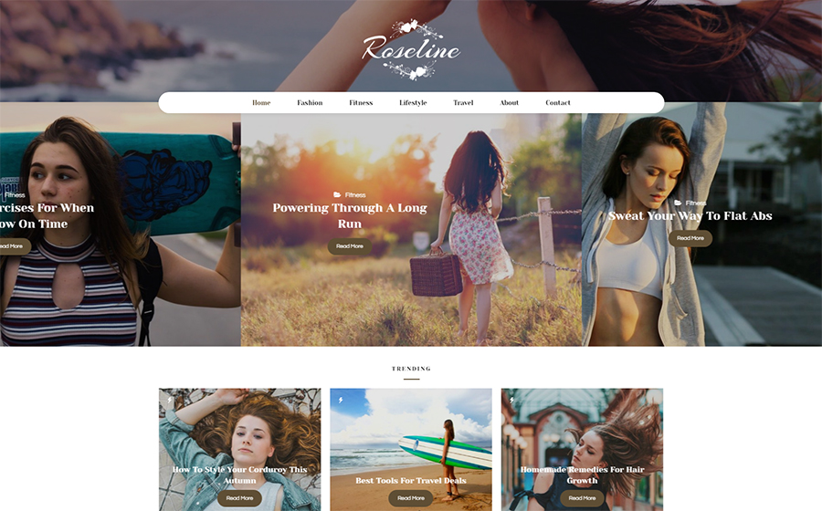 Roseline - Personal Blog WordPress Theme