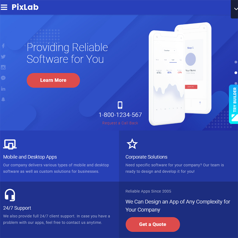 PixLab - Software Company Website Template