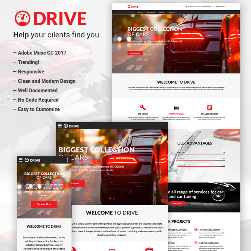 Drive - Car Repair & Tuning Muse Template