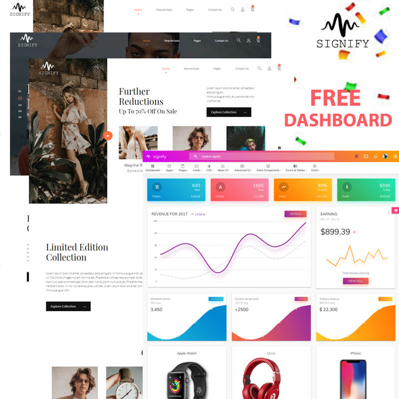 Signify Ecommerce with free Dashboard Website Template