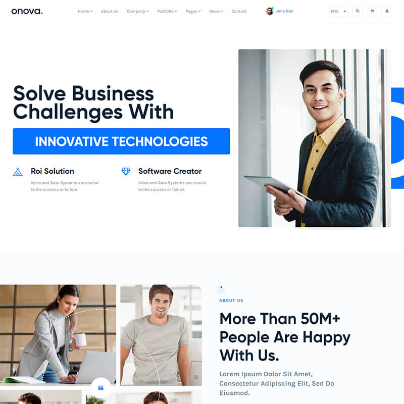 Onova - IT Solutions and Services Company React js Website Template