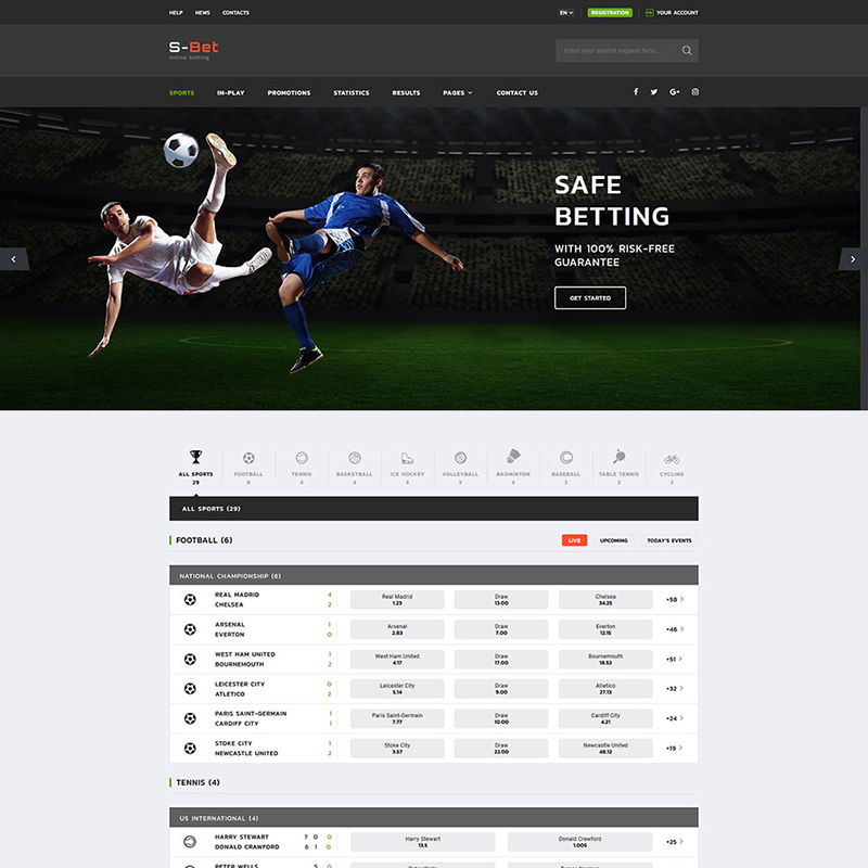 S-Bet Online Sports Betting Multipage HTML template