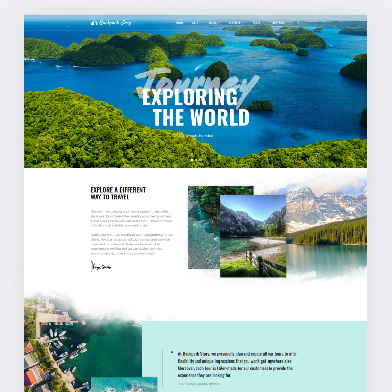 Backpack story HTML Template