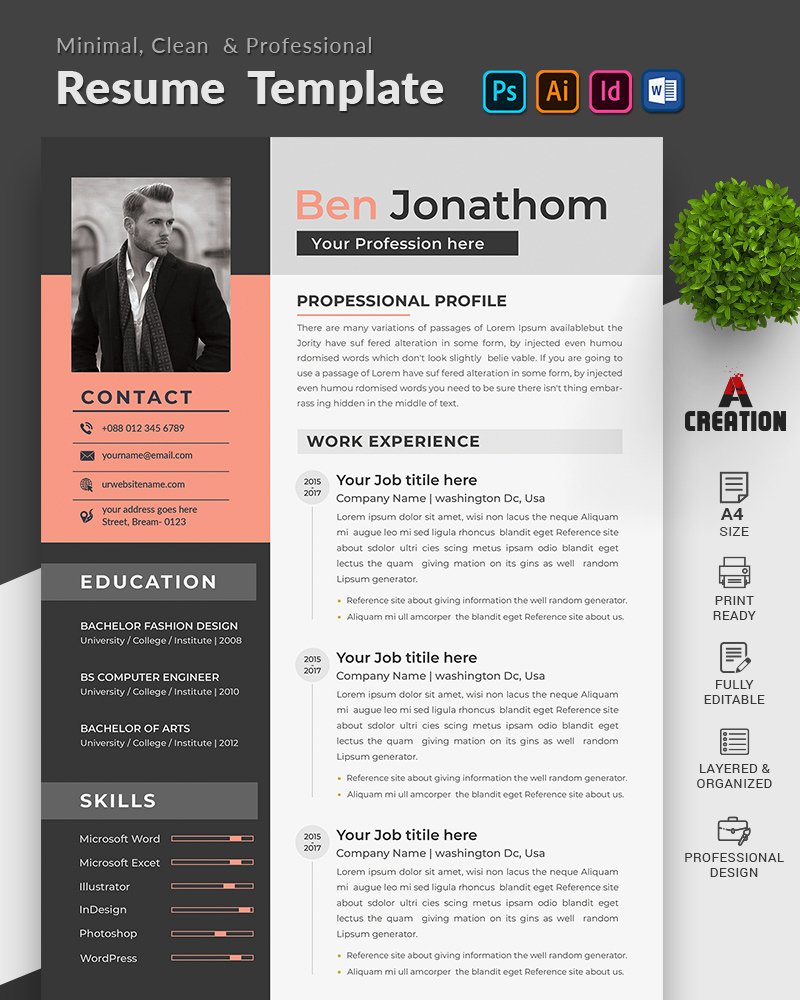 Ben Jonathon Editable Resume Template
