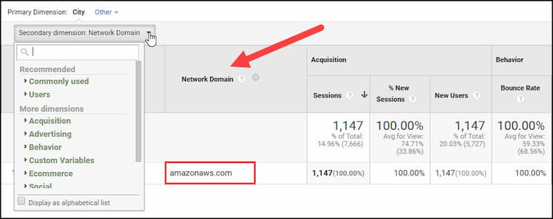 Netword domain dimension showing traffic is from Amazonaws