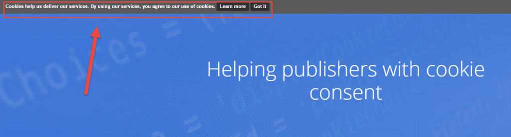 example of EU cookie banner