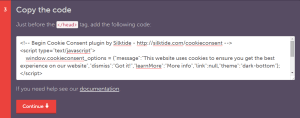 example of cookie banner code
