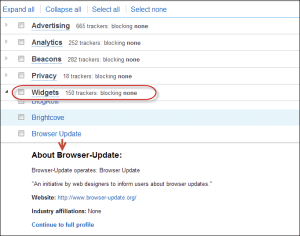 Example of Ghostery drilldown