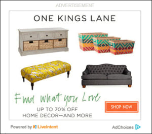 One Kings Lane ad in newsletter