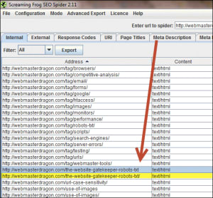 Screaming Frog results showing similar URLs