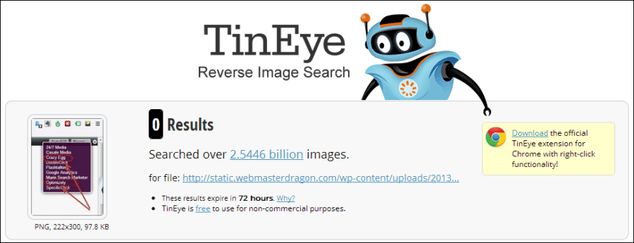 search result form TinEye