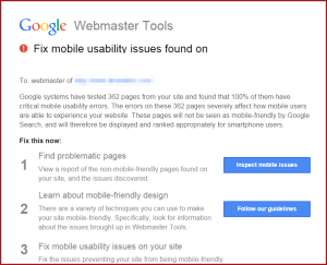Google webmaster tools warning