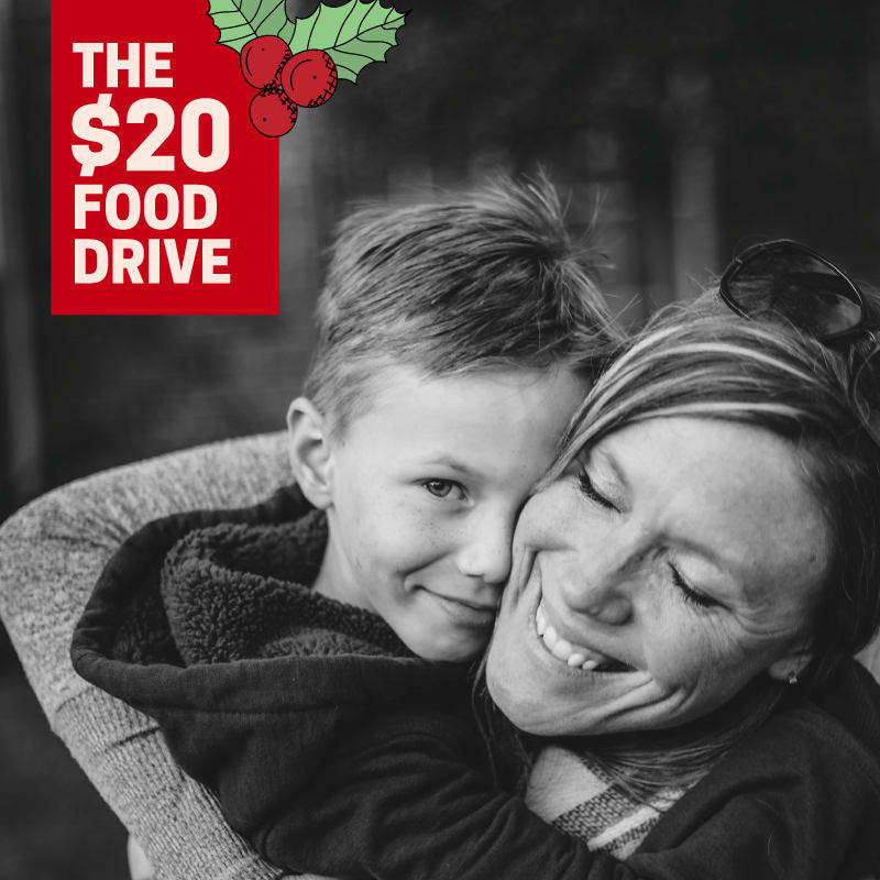 $20 dollar food drive logo on image of mom and child