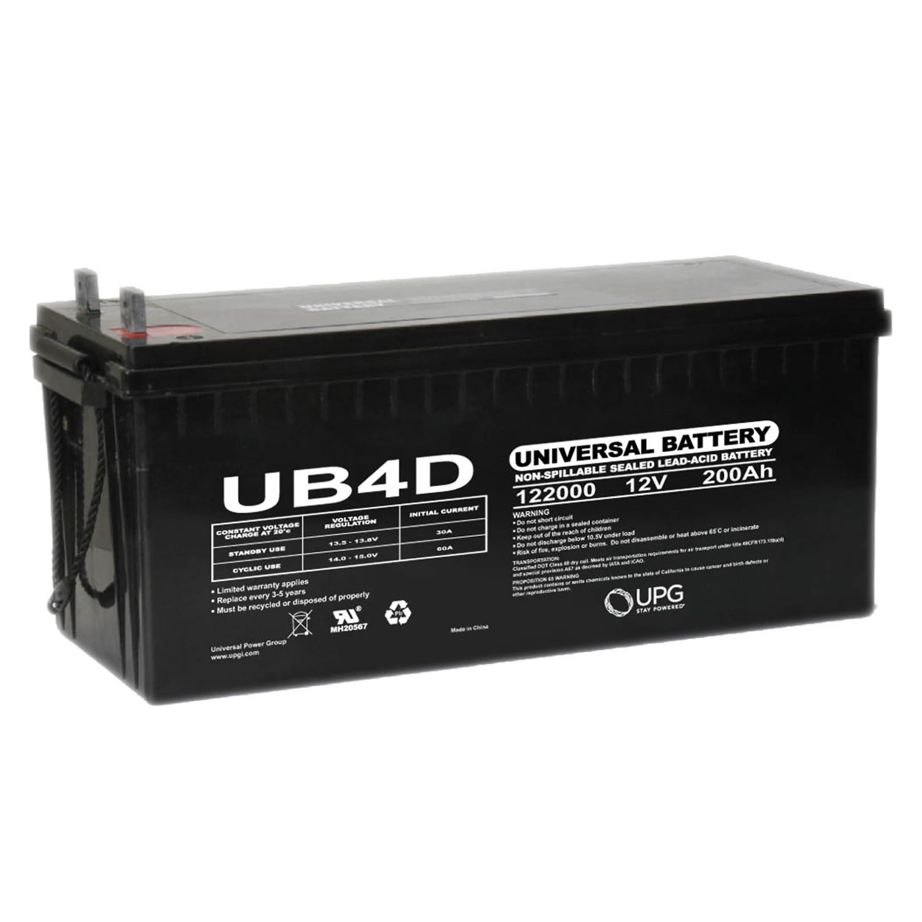 4d Agm Battery Ub4d 12v 200 Ah As Low As 337 95