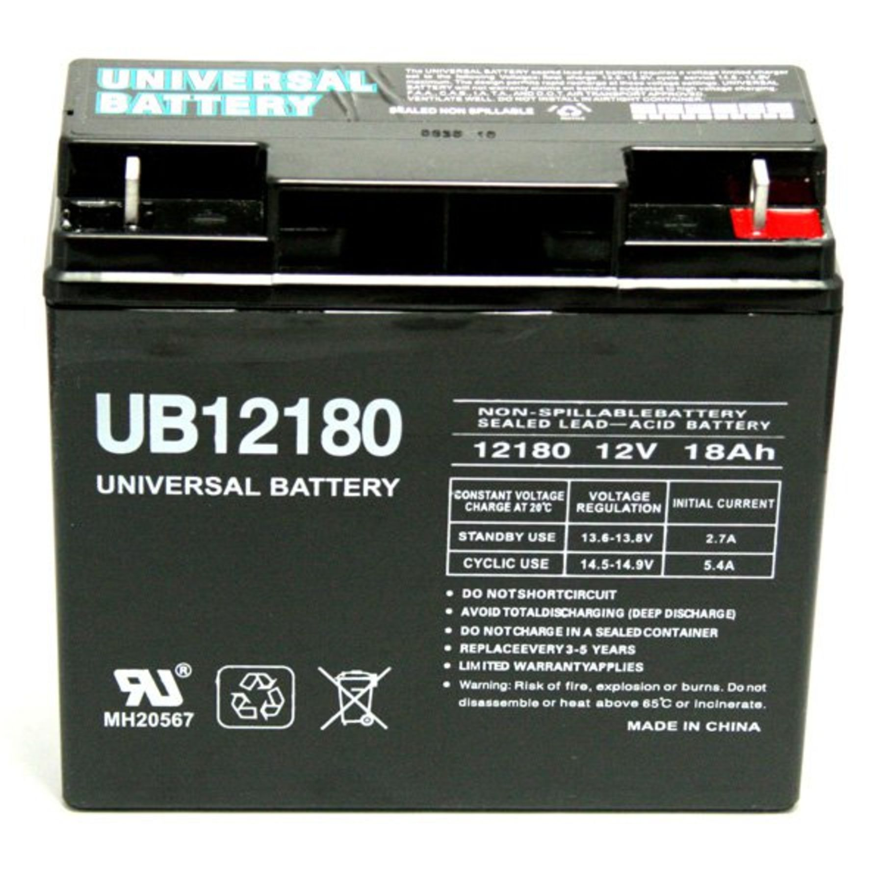 Sla 12180 Universal 12v 18 Ah Deep Cycle Sealed Lead