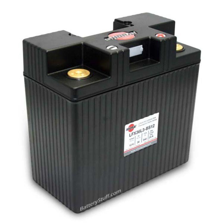 LFX36L3-BS12 Shorai 12v 36 AH PBEq LiFePO4 Power Sports Battery [- +]