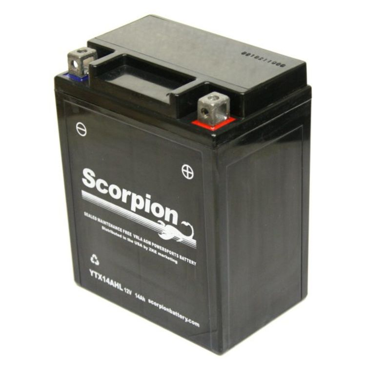 motorcycle battery pic  YTX14AHL-BS Battery   Scorpion 12 Volt Motorcycle Batteries