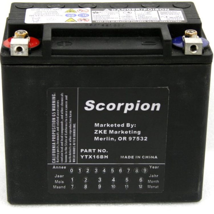 hYTX16BH Scorpion 12v 325 CCA Harley HVT-5 AGM Motorcycle Battery