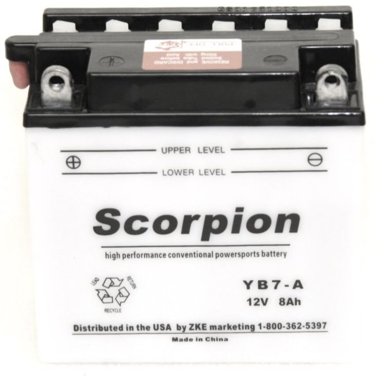 YB7-A Scorpion 12v 90 CCA Power Sport Wet Battery with Acid Pack