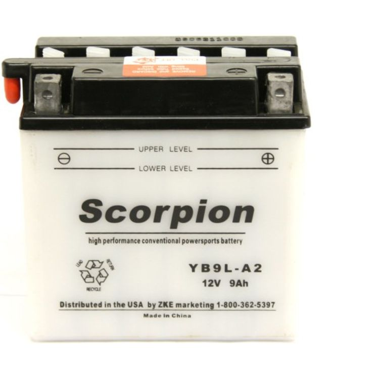 YB9L-A2 Scorpion 12v 160 CCA Power Sport Wet Battery with Acid Pack