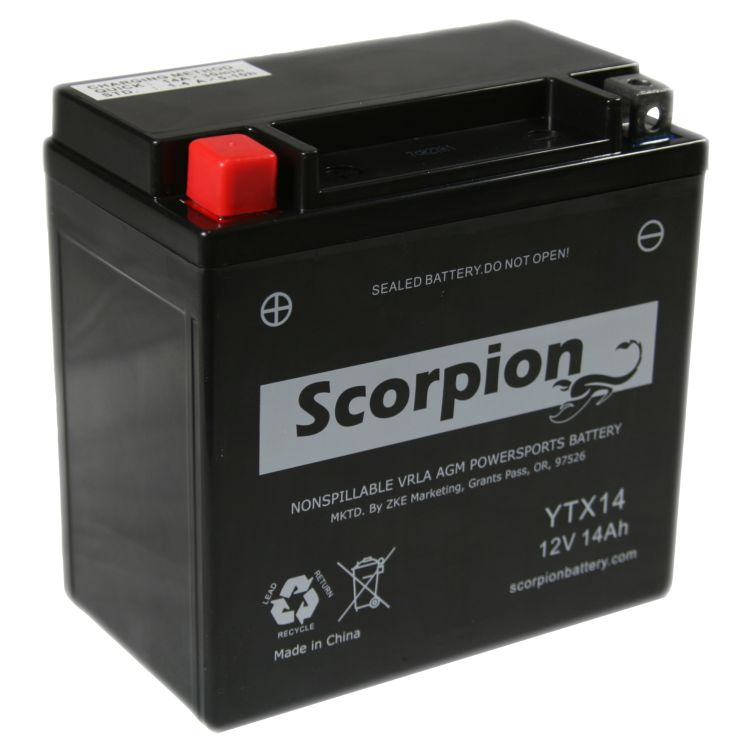 motorcycle battery pic  YTX14-BS Battery   Scorpion 12 Volt Motorcycle Batteries