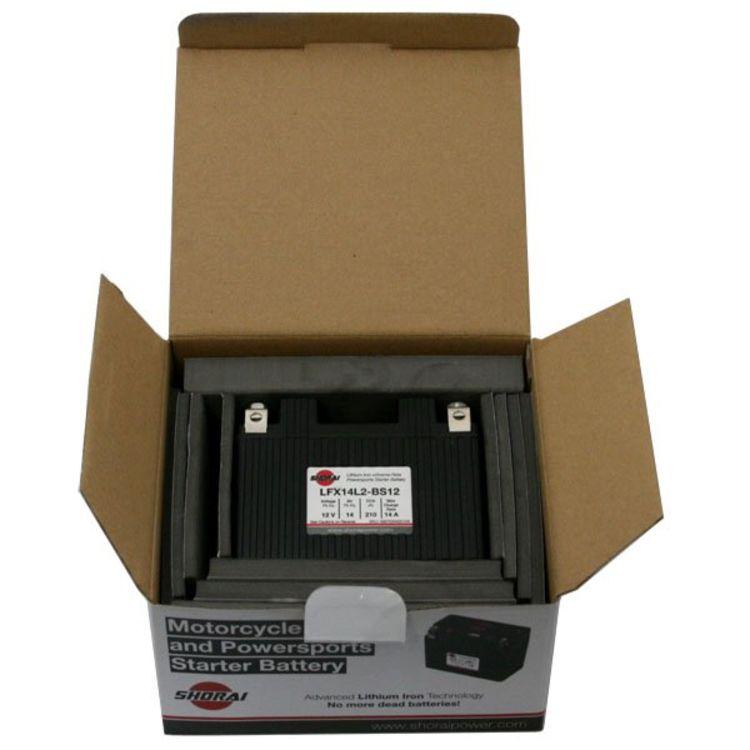 LFX14L2-BS12 Shorai 12v 14 AH PBEq LiFePO4 Power Sports Battery [- +]