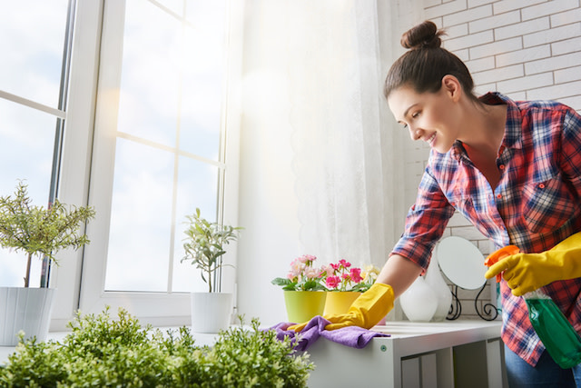 woman cleaning with cleaning supplies