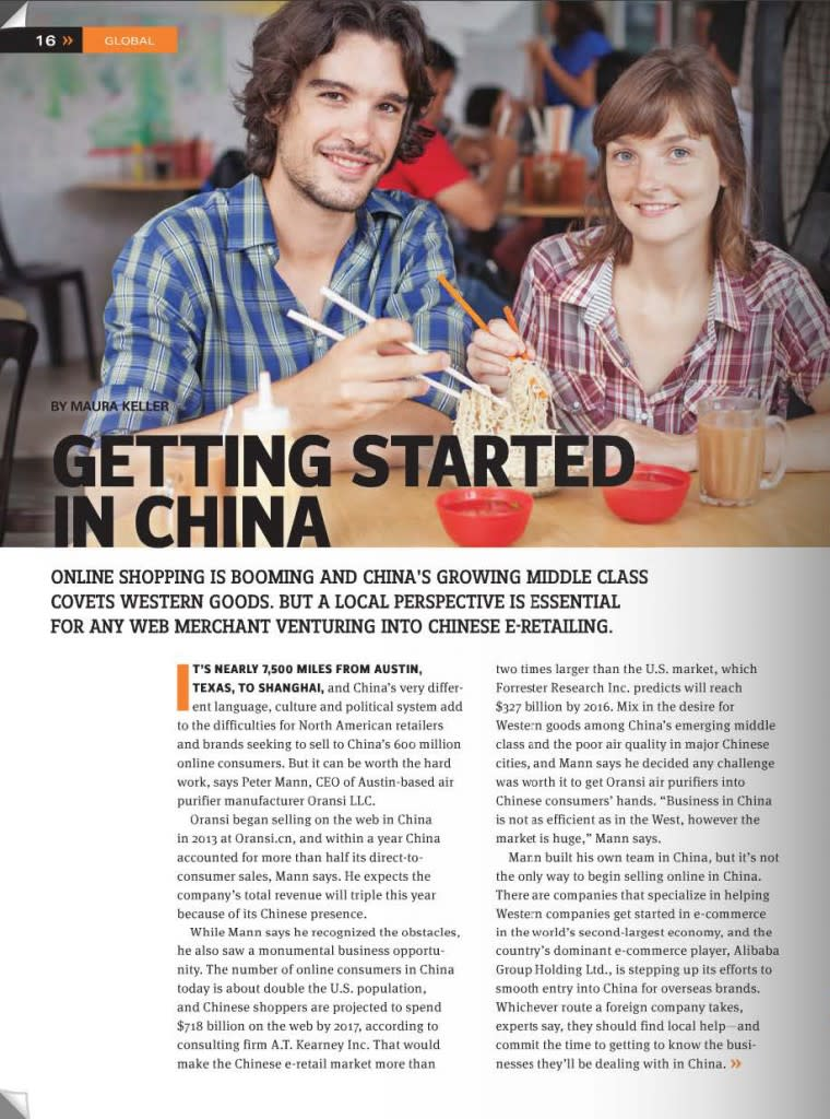 Oransi Internet Retailer Article Getting Started i China 1 of 4