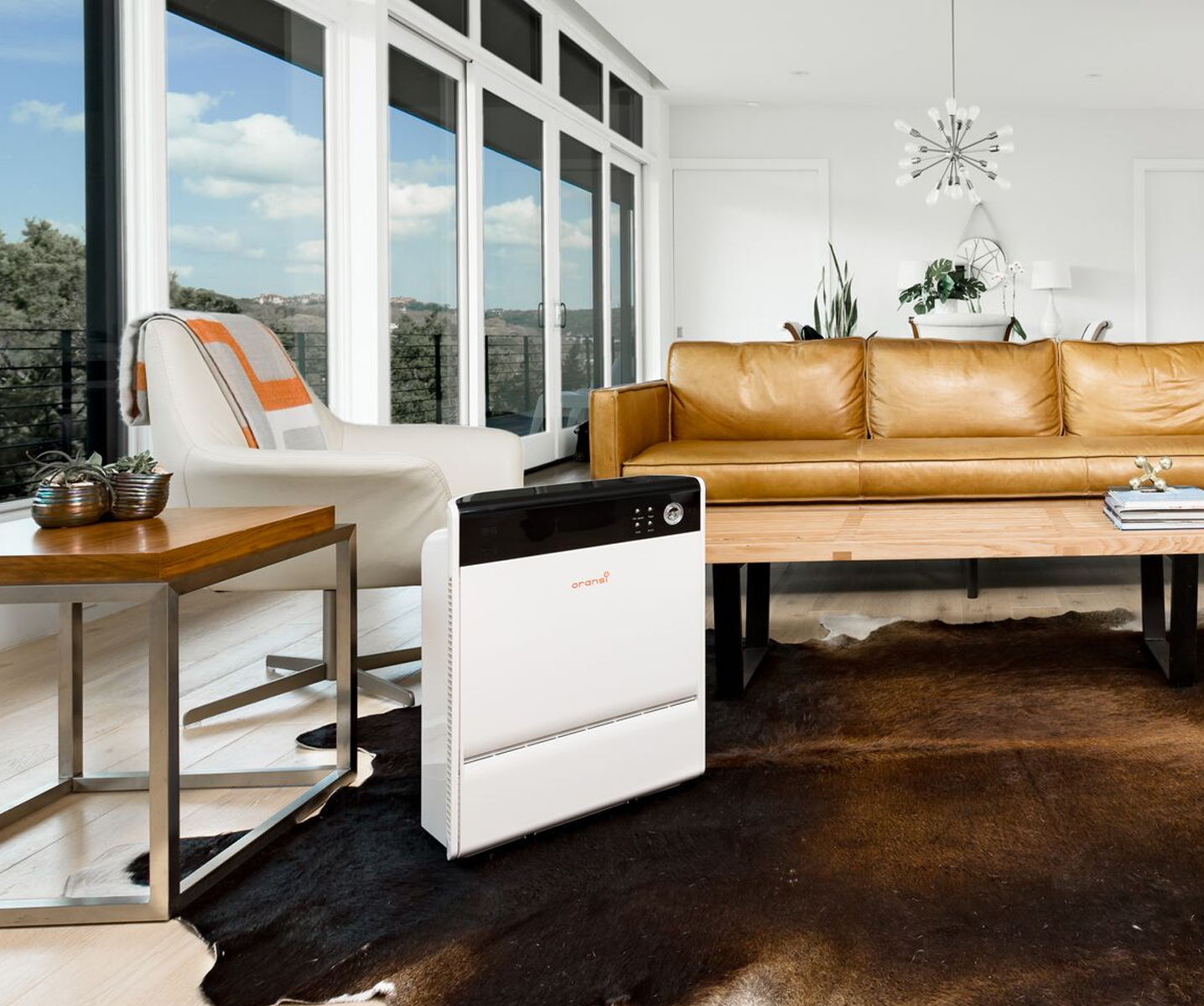 oransi air purifier in a living room