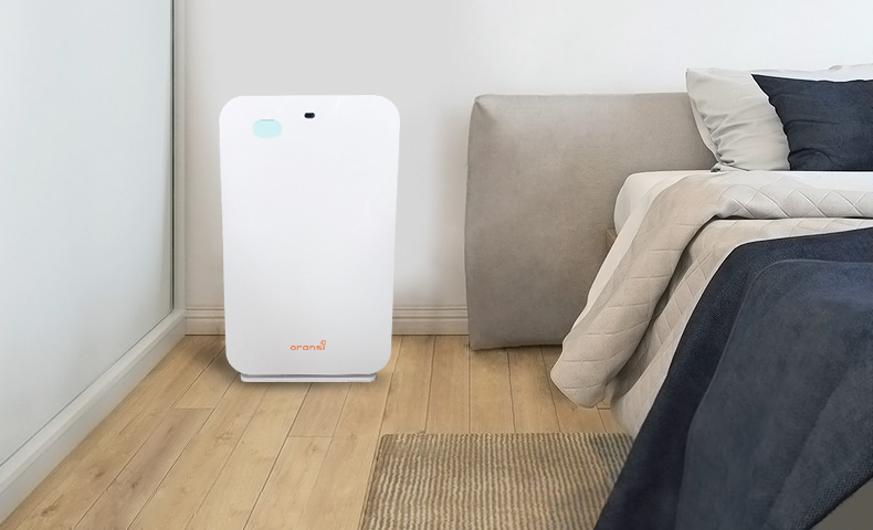 OV200 air purifier in bedroom